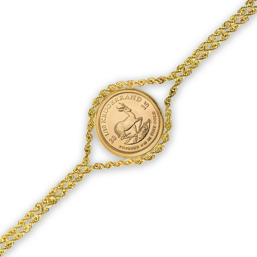 2015 1/10 oz Gold Krugerrand Bracelet (Polished Rope)
