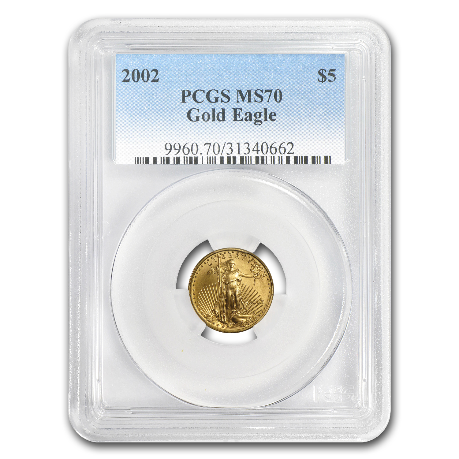 2002 1/10 oz Gold American Eagle MS-70 PCGS