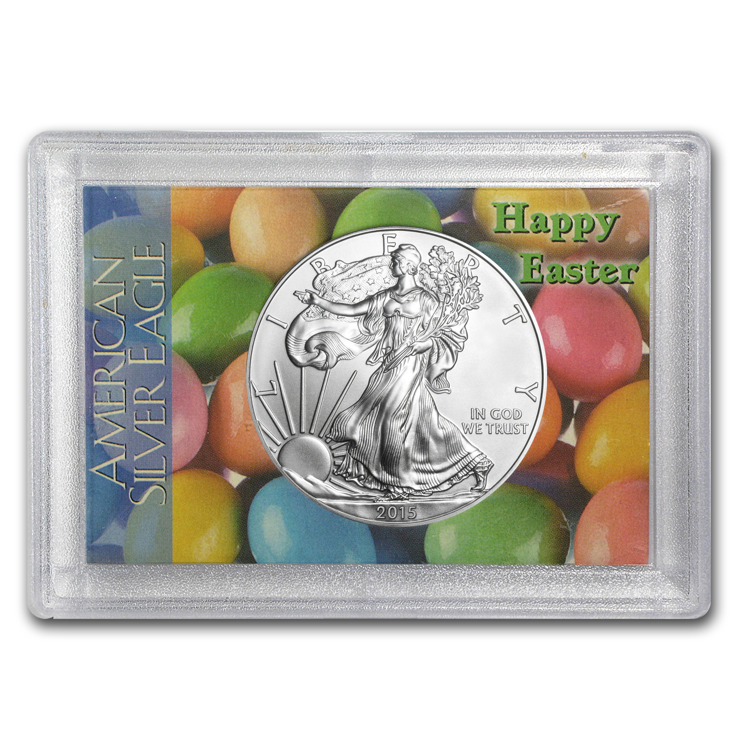 2015 1 oz Silver American Eagle BU (Happy Easter, Harris Holder)