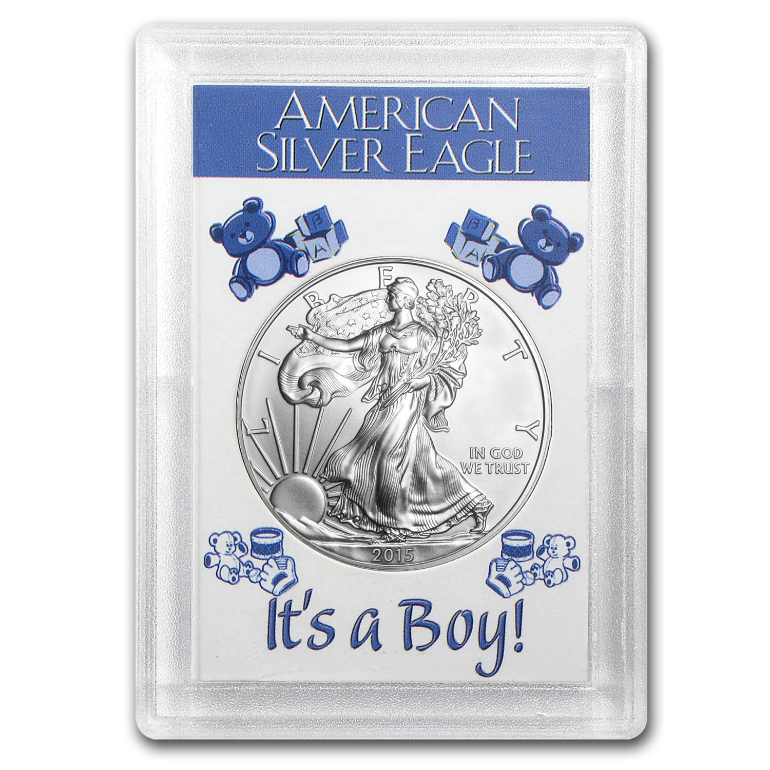 2015 1 oz Silver American Eagle BU (It's a Boy! Harris Holder)