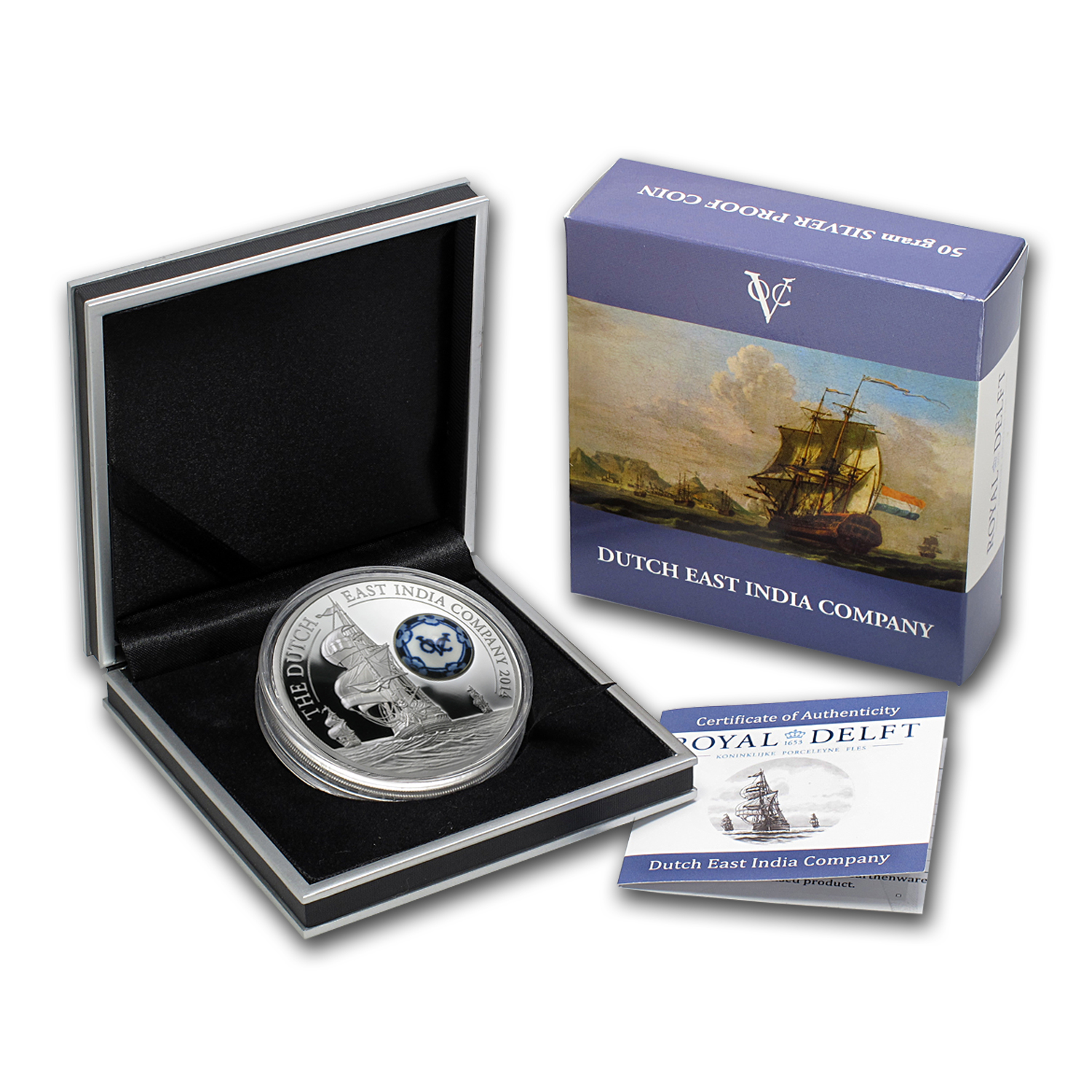 2014 Cook Islands Silver 50 gram Royal Delft™ VOC Ship