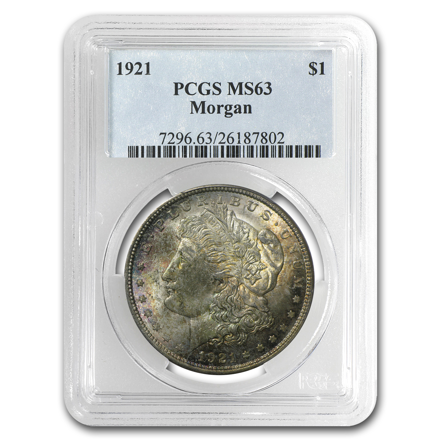 1921 Morgan Dollar MS-63 PCGS (Toned, Obv &/or Rev)