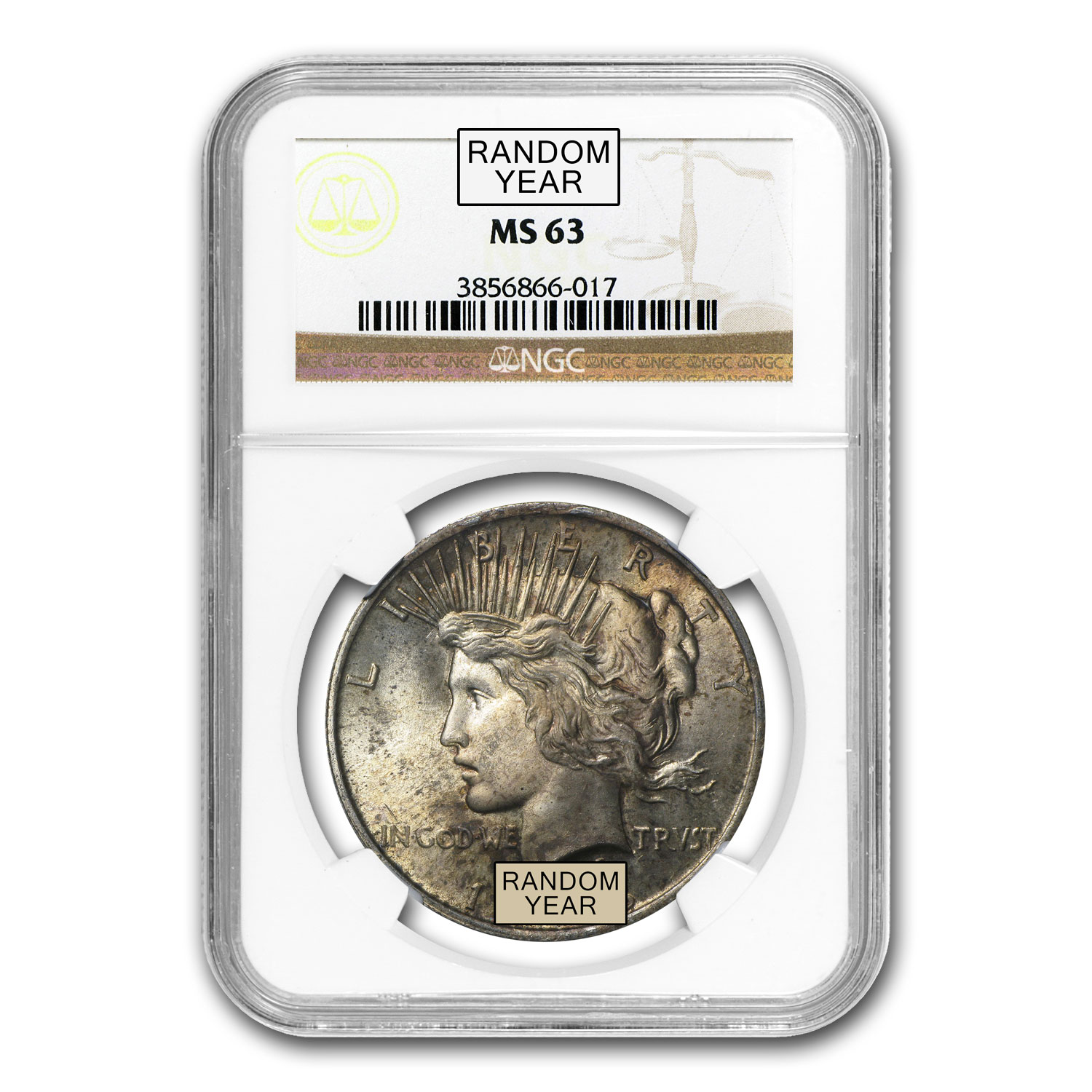 1922-1925 Peace Dollars MS-63 NGC (Toned Obv/Rev)