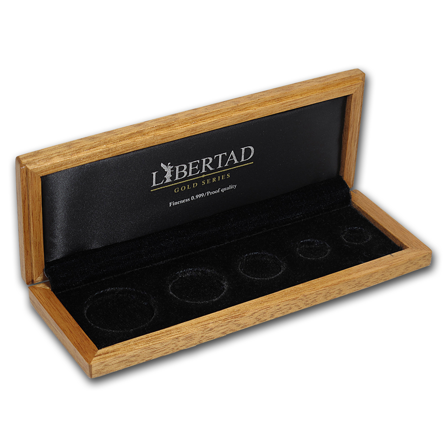 Libertad (Gold) 5 coin Wood Presentation Box - Banco de Mexico