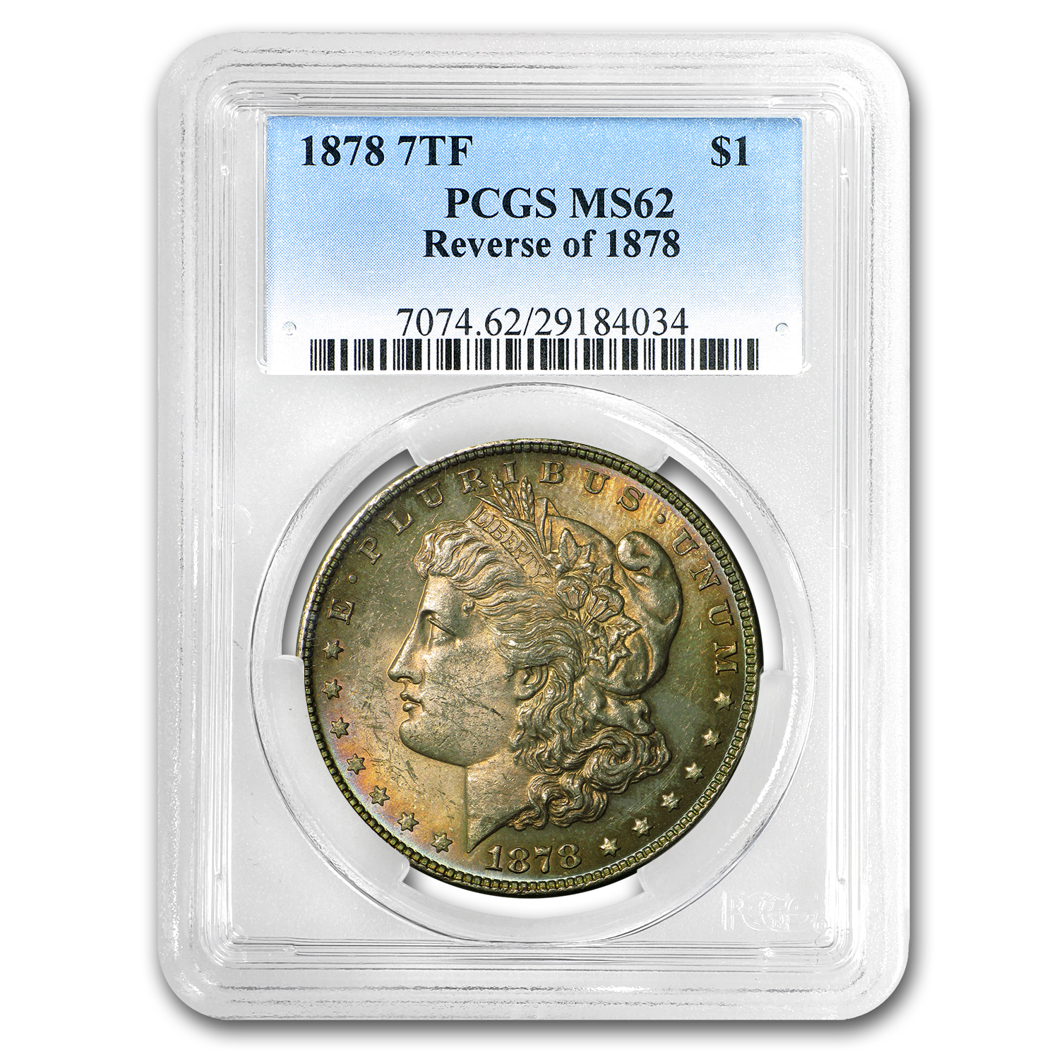 1878 Morgan Dollar 7 TF Rev of 78 MS-62 PCGS (Nice Toning)