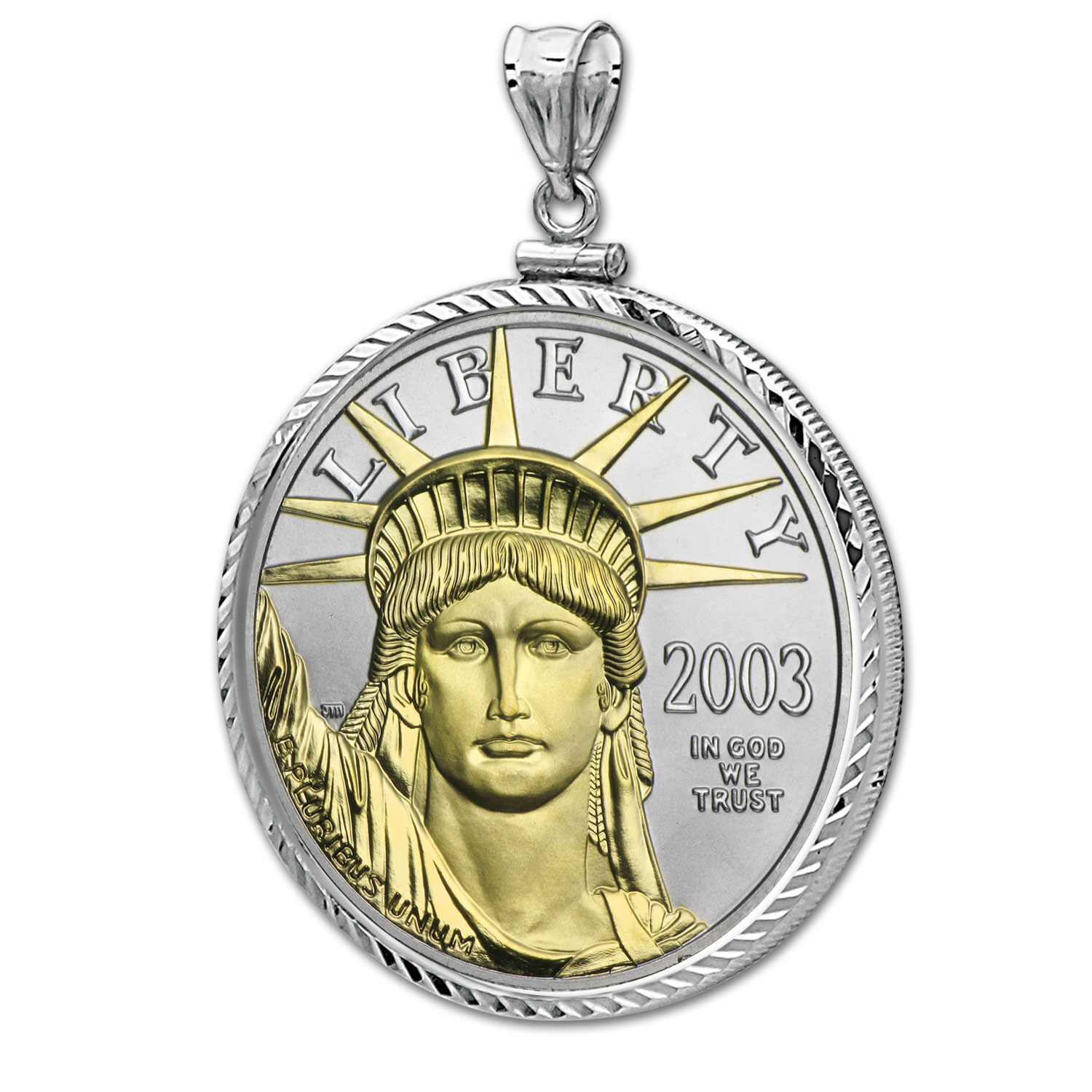 1 oz Platinum Gilded American Eagle (Diamond Screw-Top Bezel)