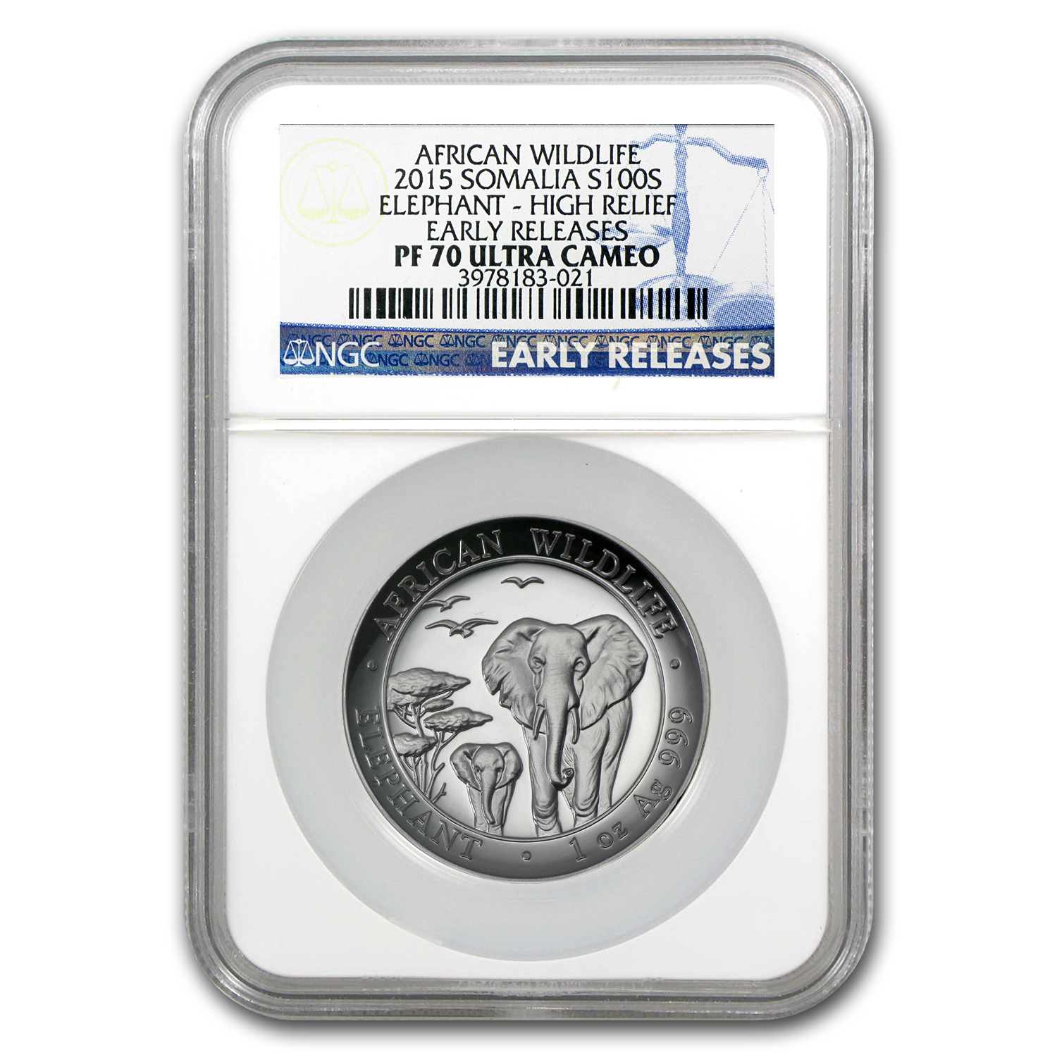 2015 Somalia 1 oz Silver Elephant PF-70 NGC (ER, High Relief)