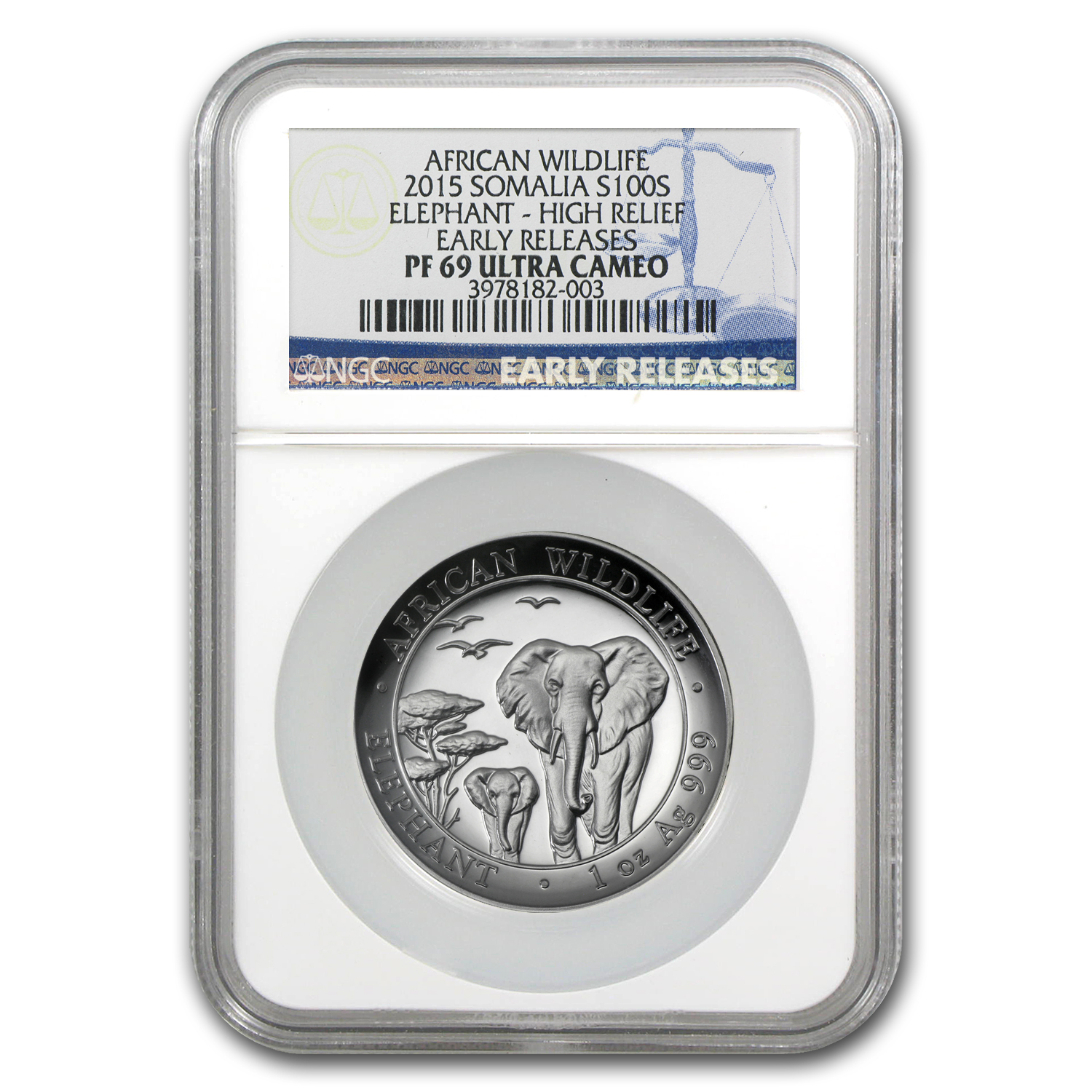 2015 Somalia 1 oz Silver Elephant PF-69 NGC (ER, High Relief)