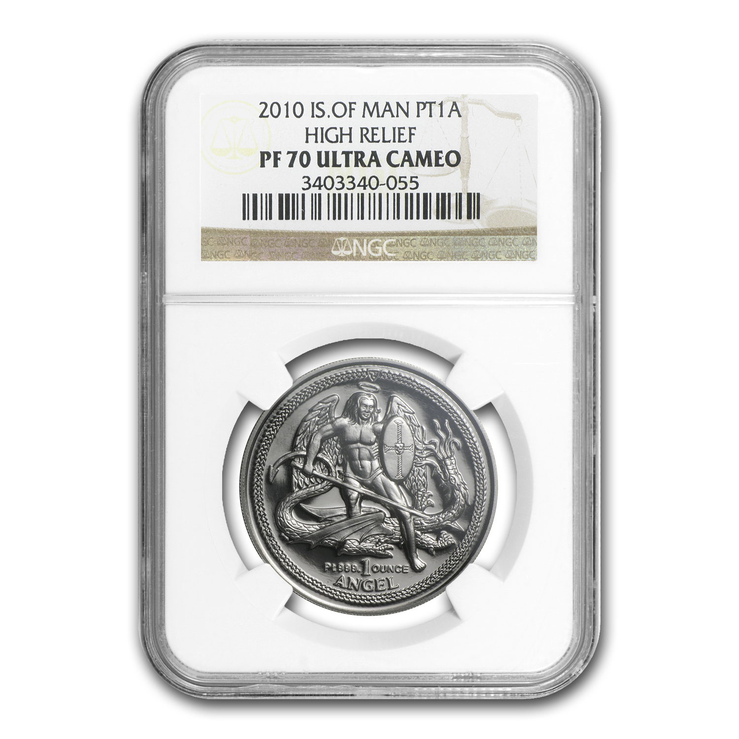 2010 Isle of Man 1 oz Platinum Angel PF-70 NGC (High Relief)