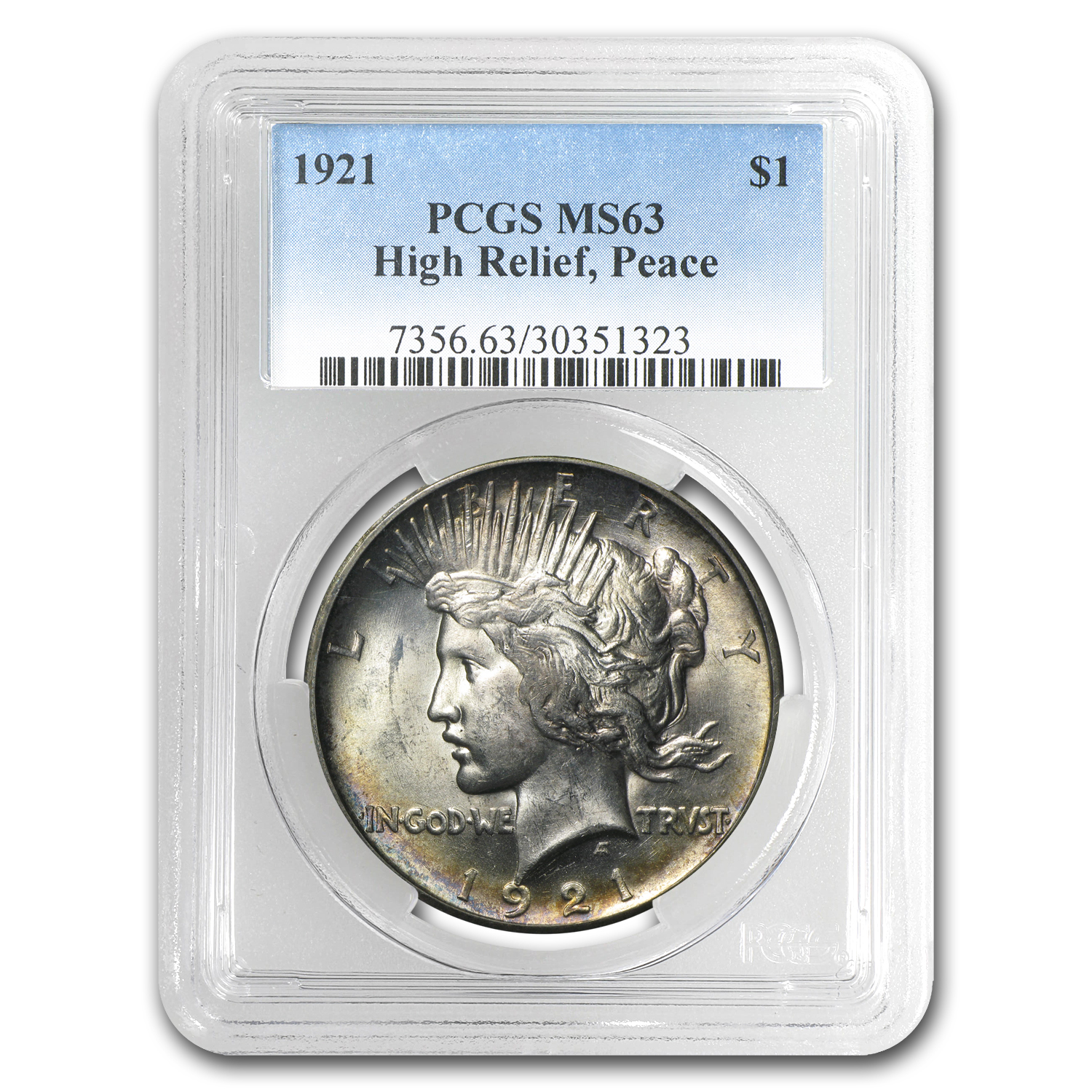 1921 Peace Dollar MS-63 PCGS (Beautifully Toned)