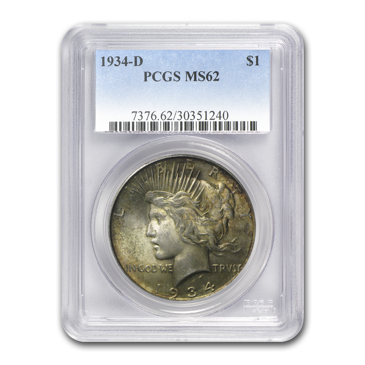1934-D Peace Dollar MS-62 PCGS (Toned Obverse and/or Reverse)