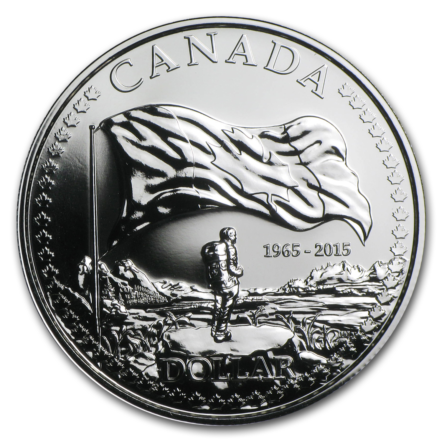 2015 Canada Silver $1 50th Anniversary of The Canadian Flag BU