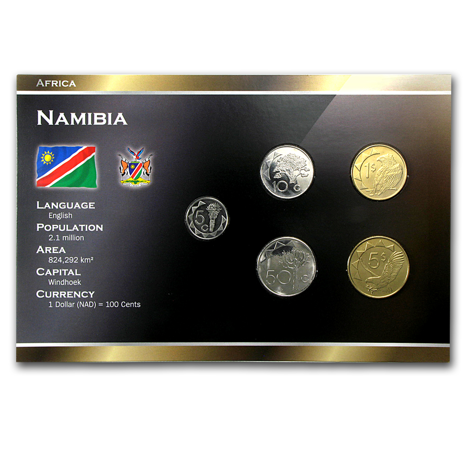 1993-2009 Namibia 5 Cents-5 Dollars Coin Set Unc