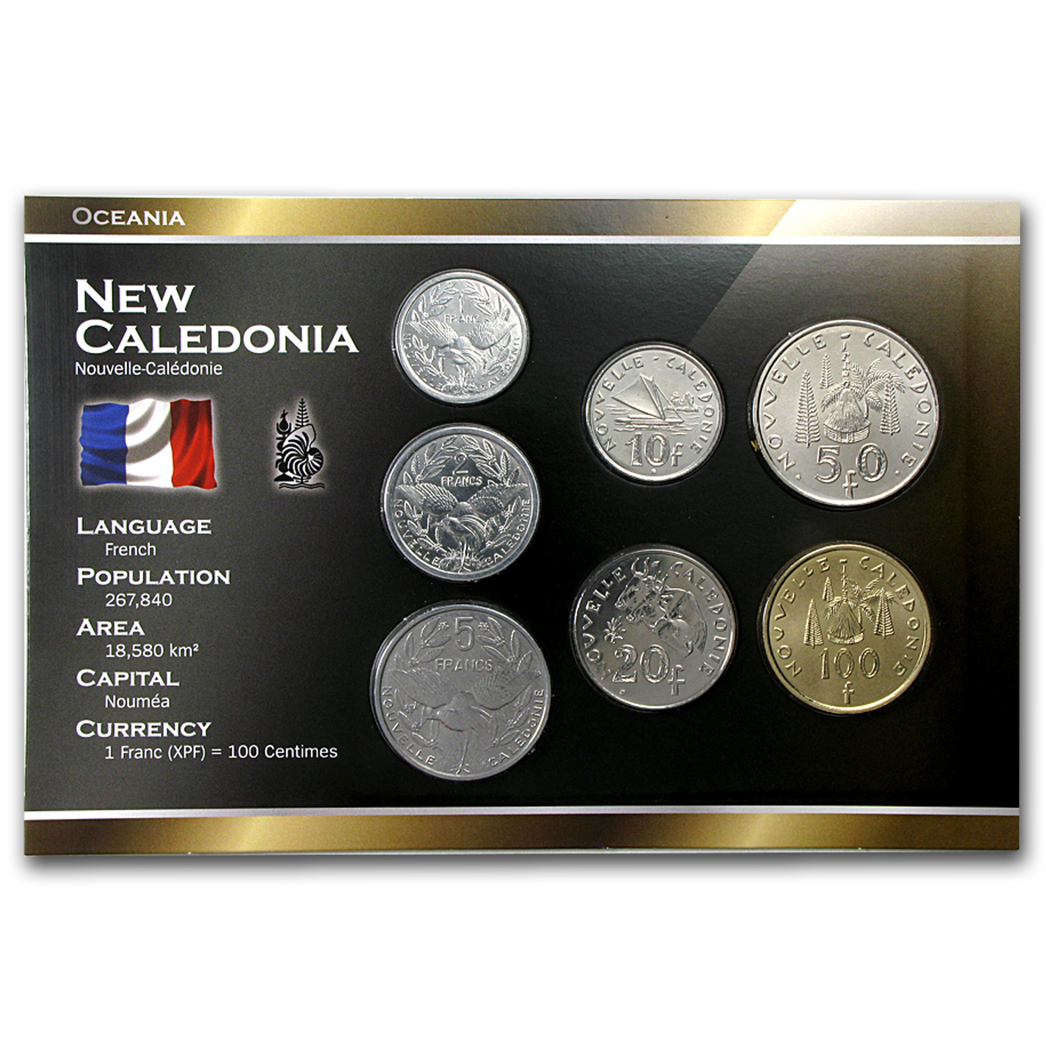2000-2013 New Caledonia 1-100 Francs Coin Set Unc