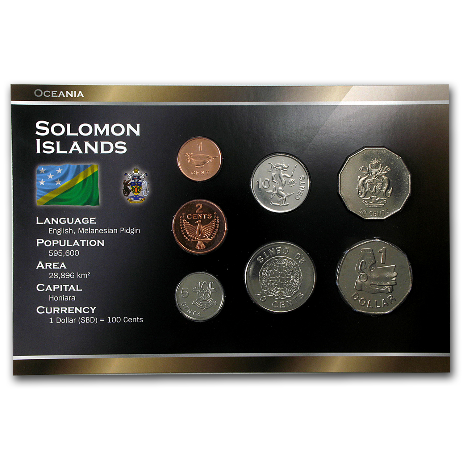 1988-2010 Solomon Islands 1 Cent-1 Dollar Coin Set Unc