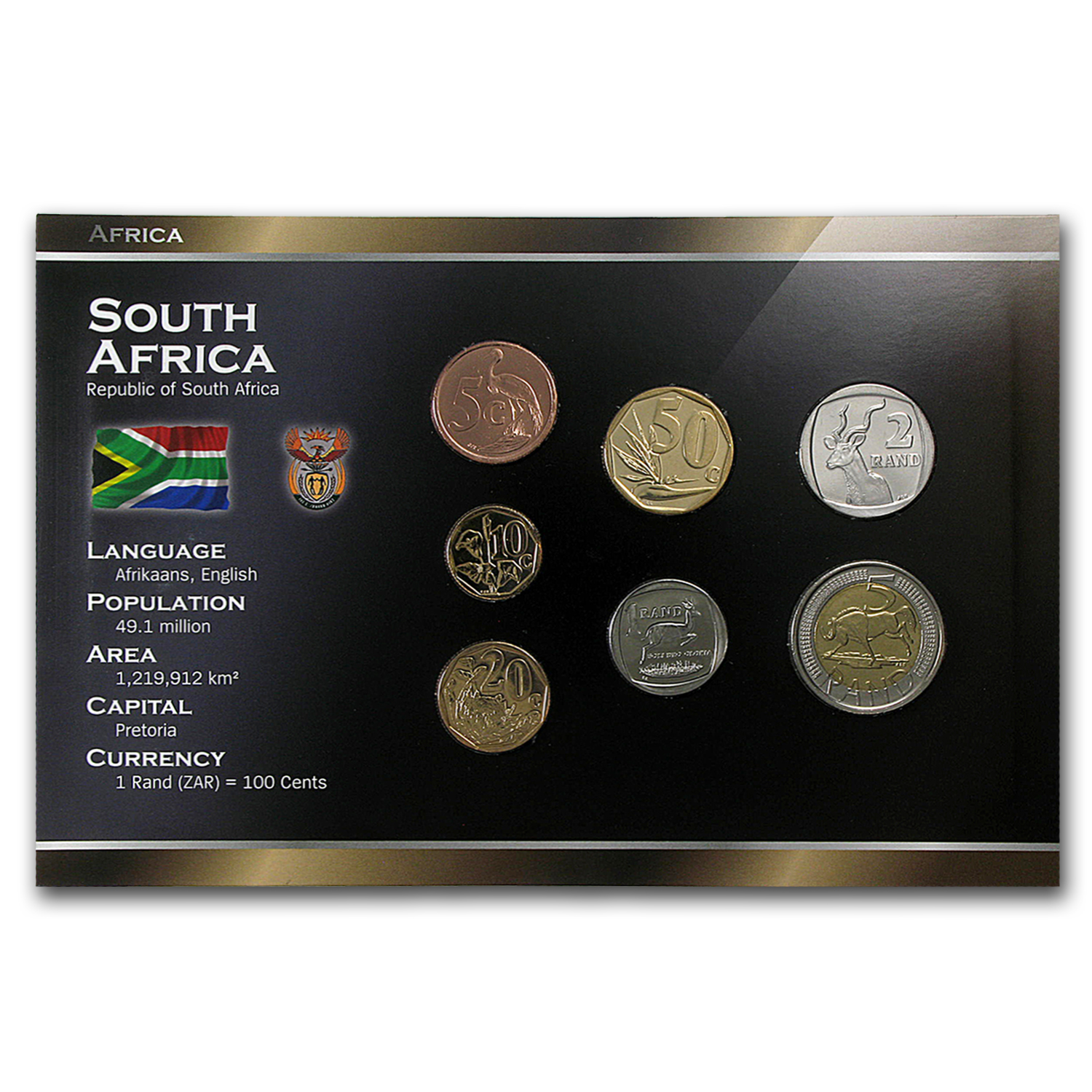 2006-2011 South Africa 5 Cent-5 Rand Coin Set BU