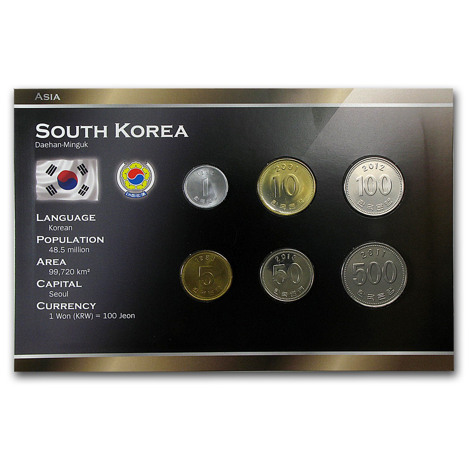 1983-2012 South Korea 1 Won-500 Won Coin Set Unc