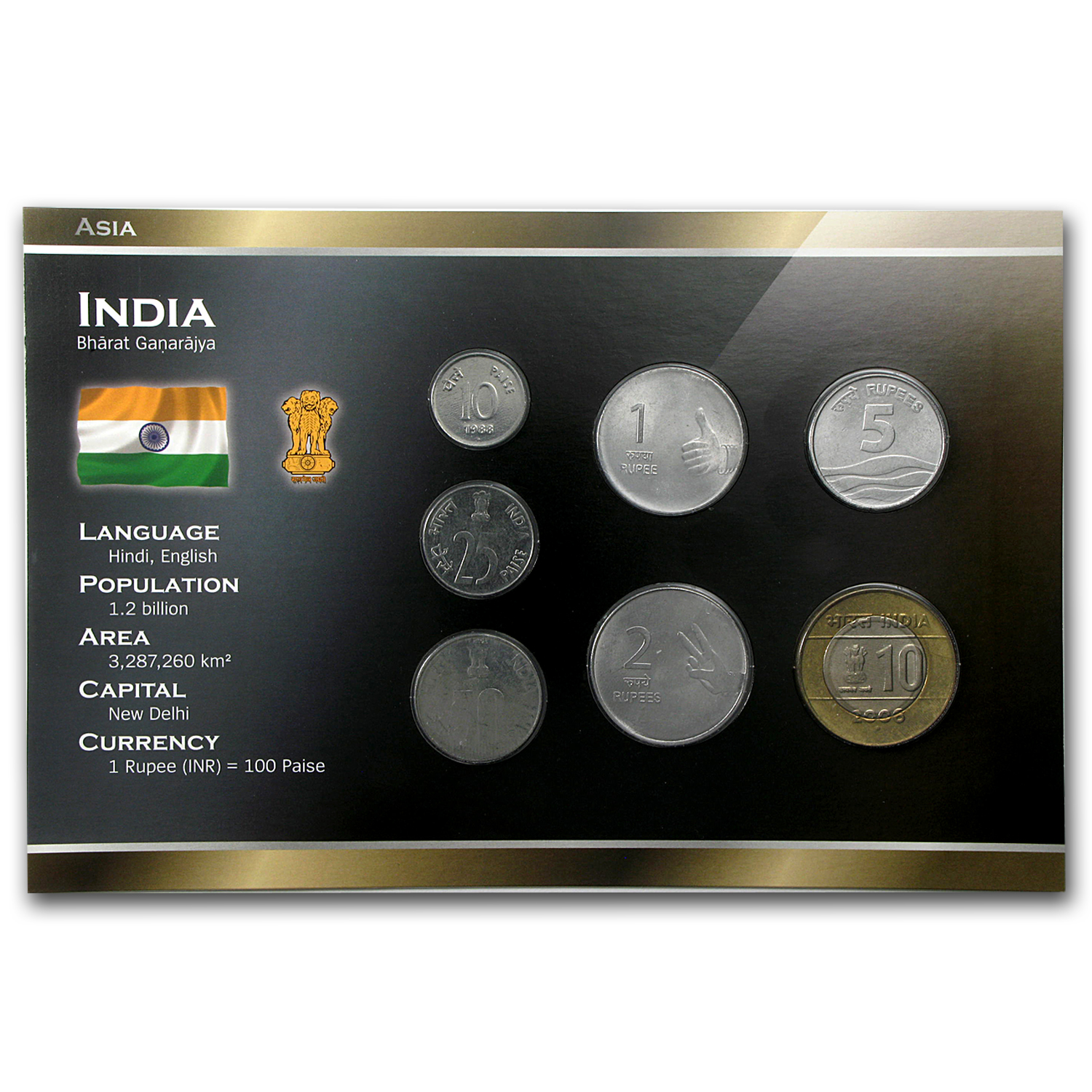1988-2010 India 10 Paise-10 Rupees Coin Set Unc