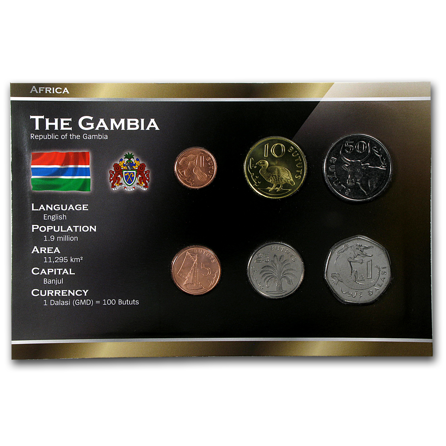 1998-2014 The Gambia 1 Butut-1 Dalasi Coin Set Unc