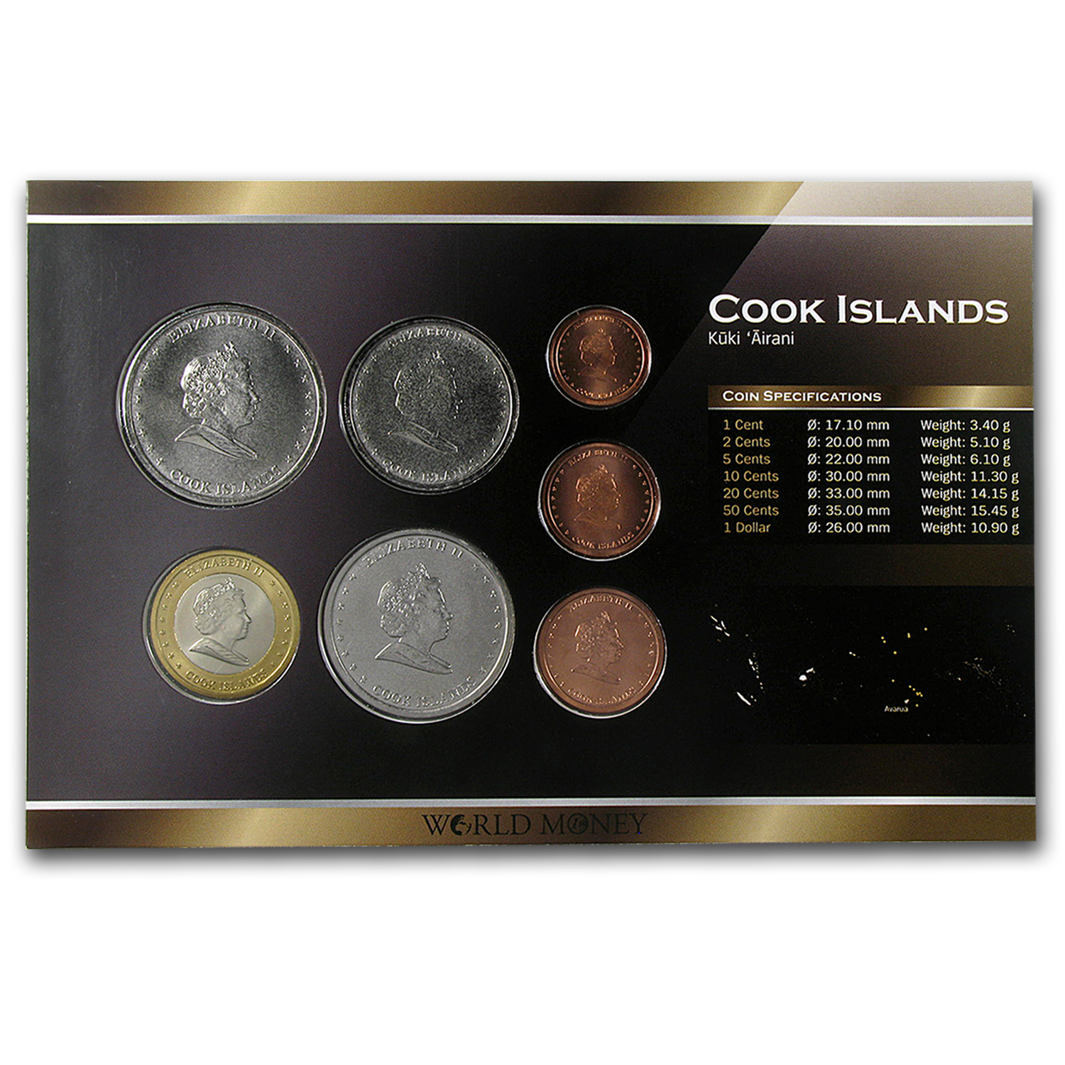 2010 Cook Islands 1 Cent-1 Dollar Coin Set Unc