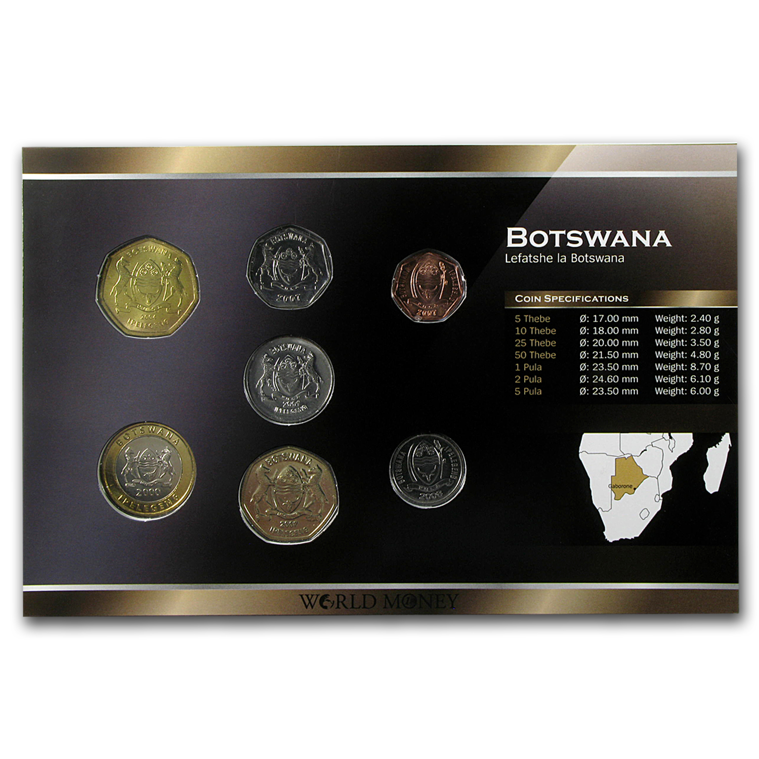 1999-2008 Botswana 5 Thebe-5 Pula Coin Set Unc