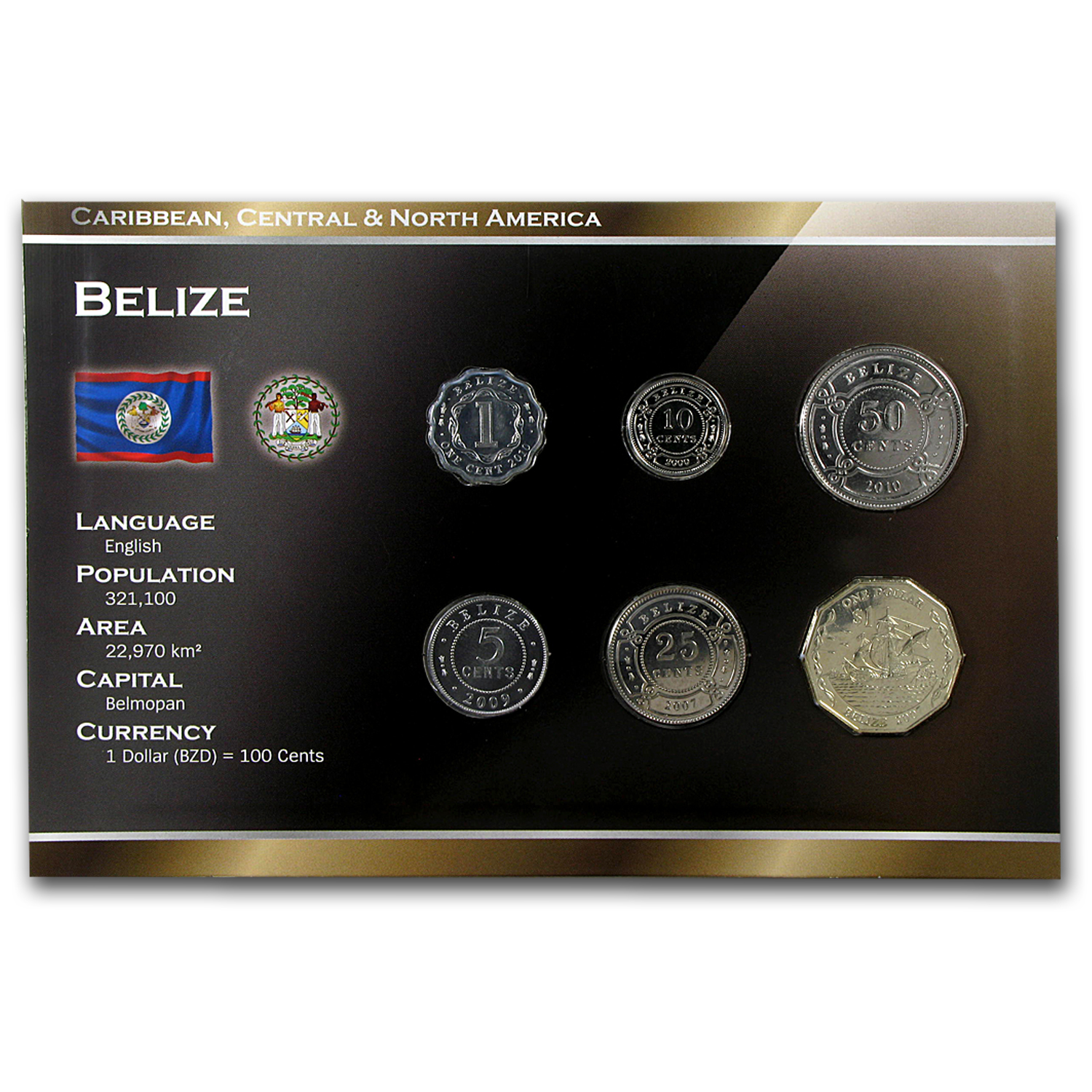 1999-2011 Belize 1 Cent-1 Dollar Coin Set Unc