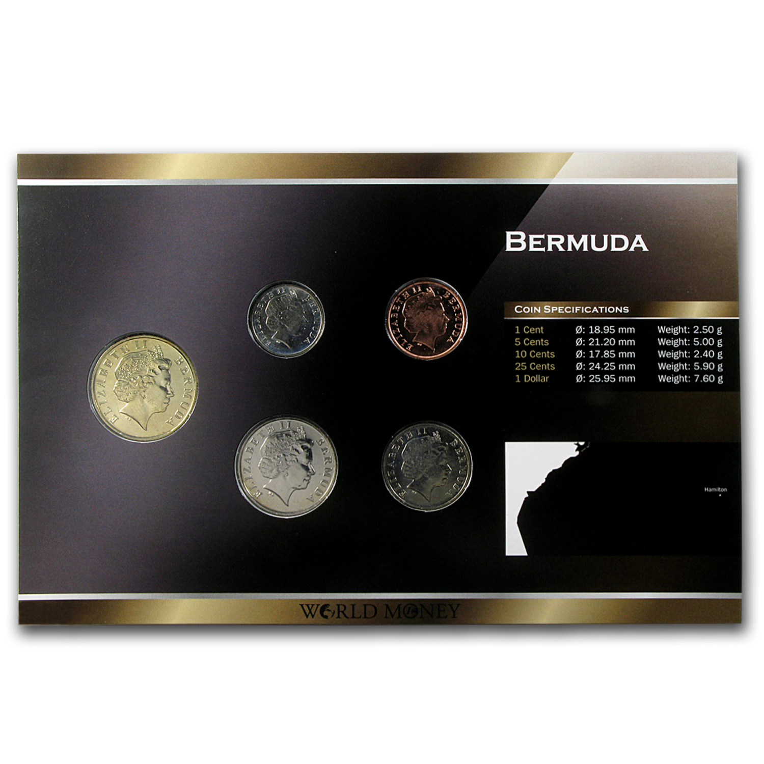 1999-2009 Bermuda 1 Cent-1 Dollar 5 Coin Set Unc