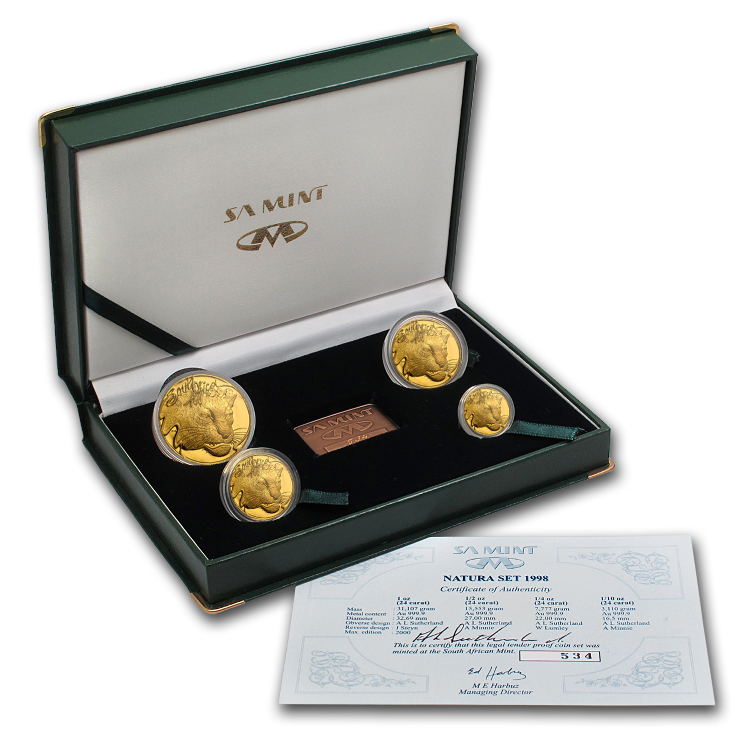 1998 South Africa 4-Coin Gold Natura Leopard Proof Set