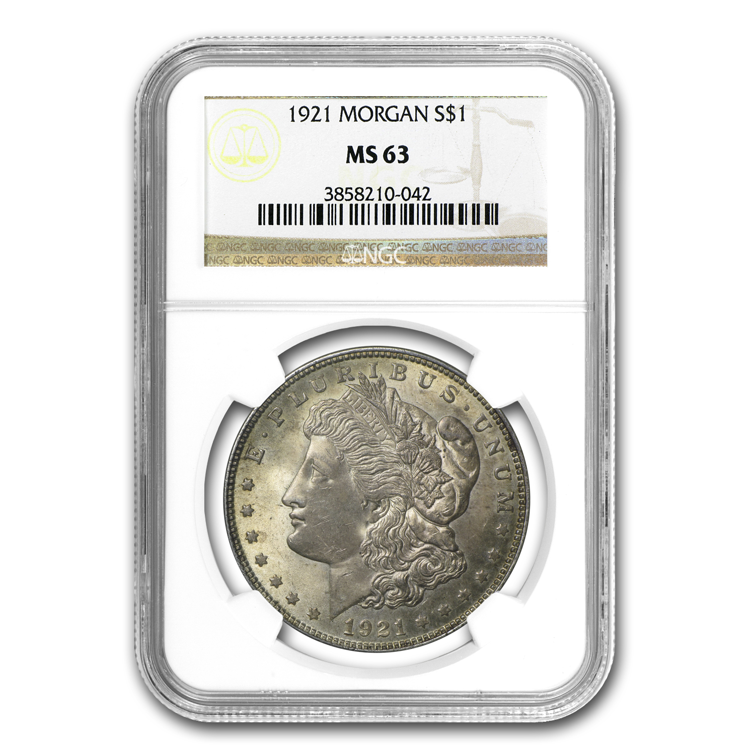 1921 Morgan Dollar MS-63 NGC (Toned Obverse/Reverse)