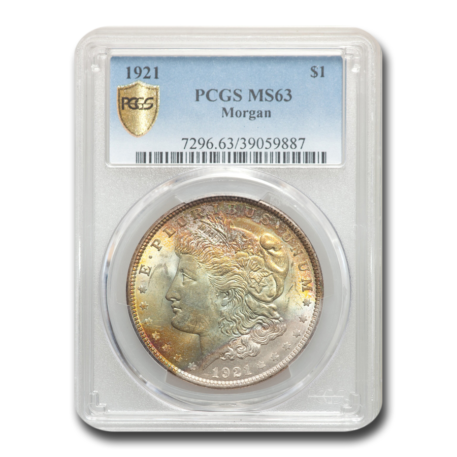 1921 Morgan Dollar MS-63 PCGS (Toned)