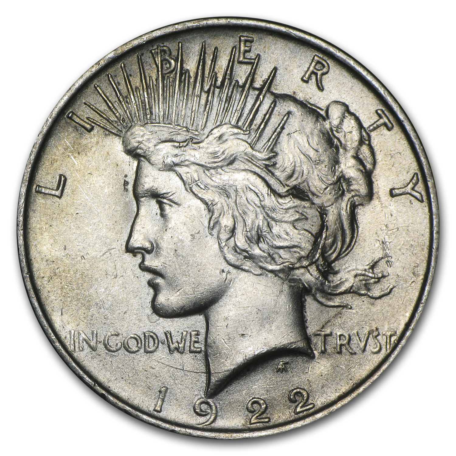 1922 Peace Dollar AU (VAM 2C Extra Hair LDS, Top-50)