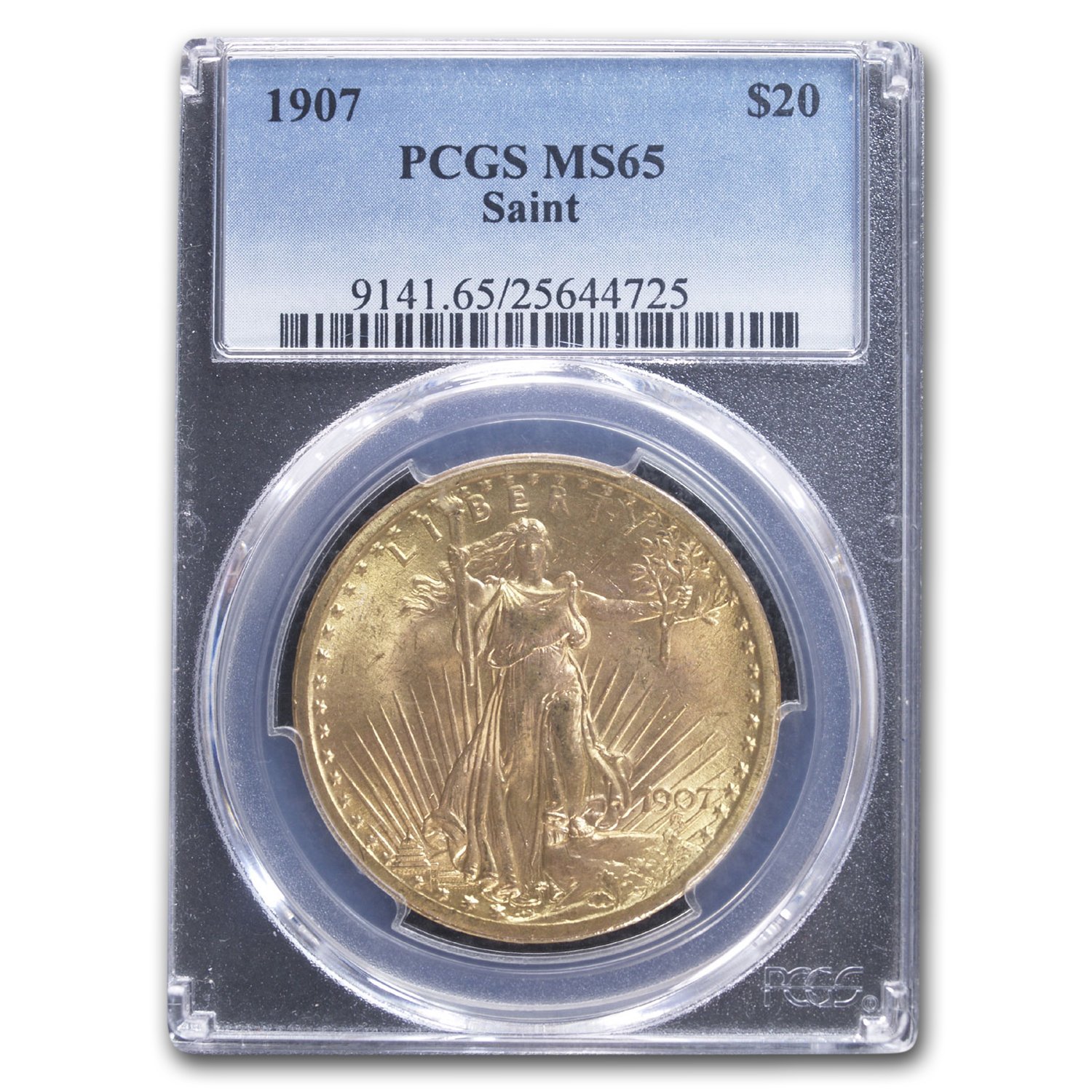 1907 $20 Saint-Gaudens Gold Double Eagle MS-65 PCGS