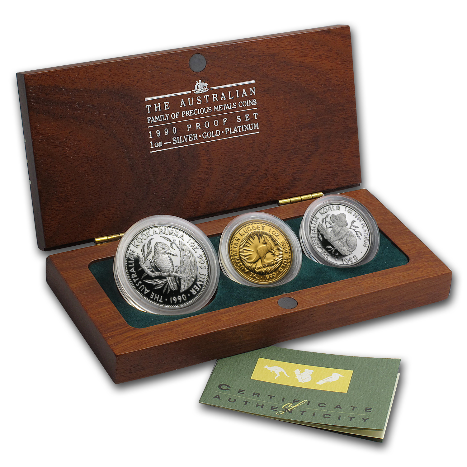 1990 Australia 3-Coin Family of Precious Metals Proof Set