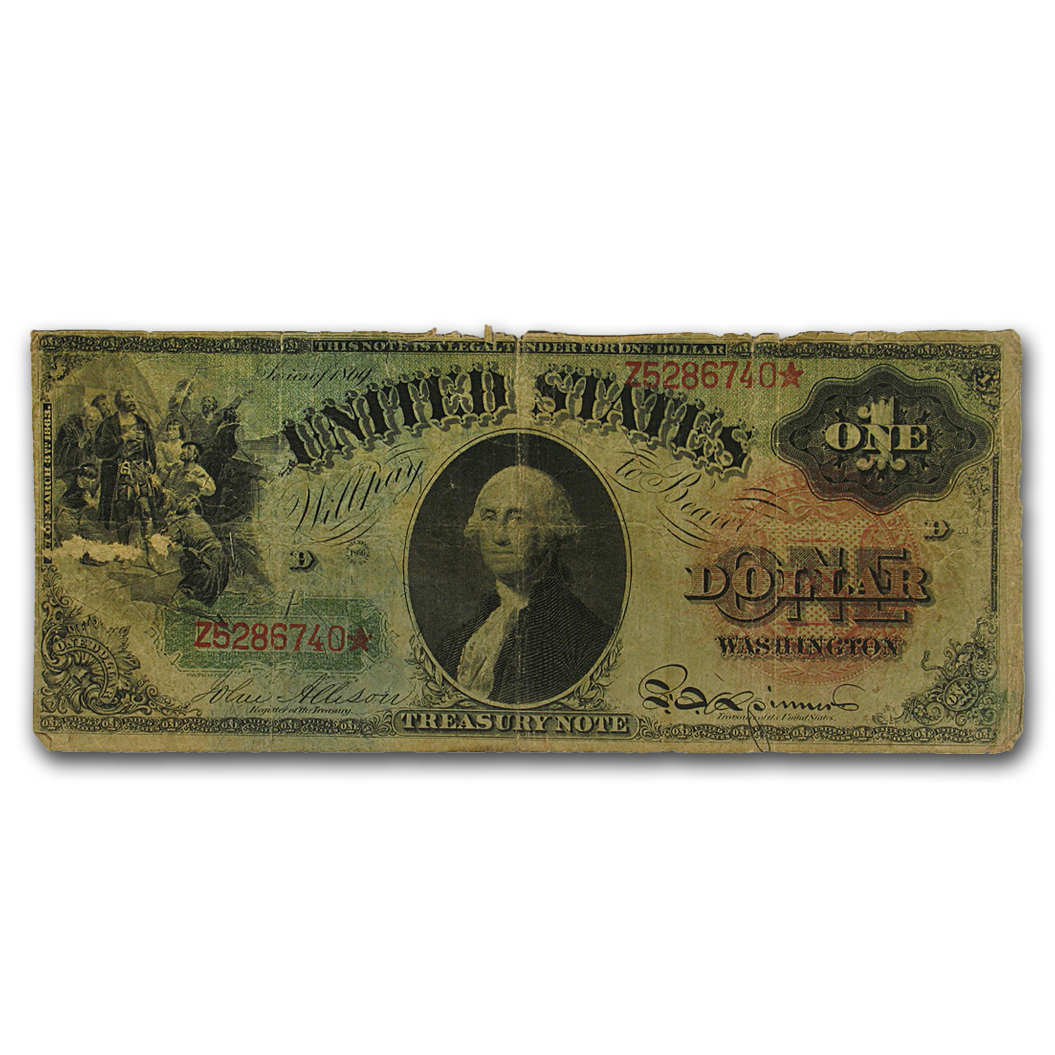 1869 $1.00 Legal Tender Washington VG