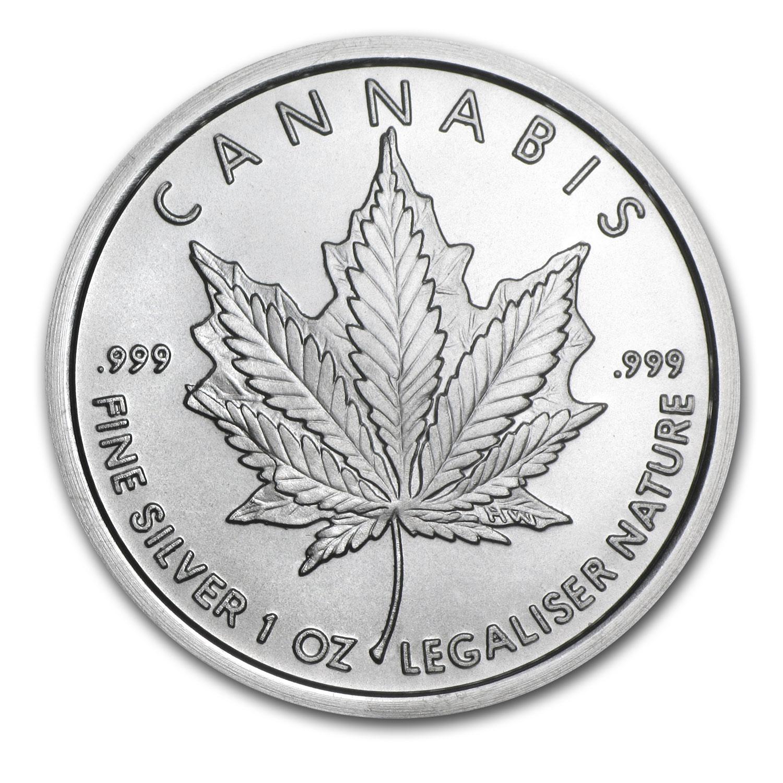 1 Oz Silver Round Cannabis Silver Shield Apmex