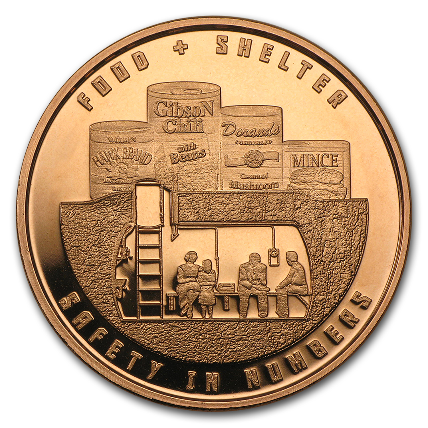 1 oz Copper Round - Food and Shelter