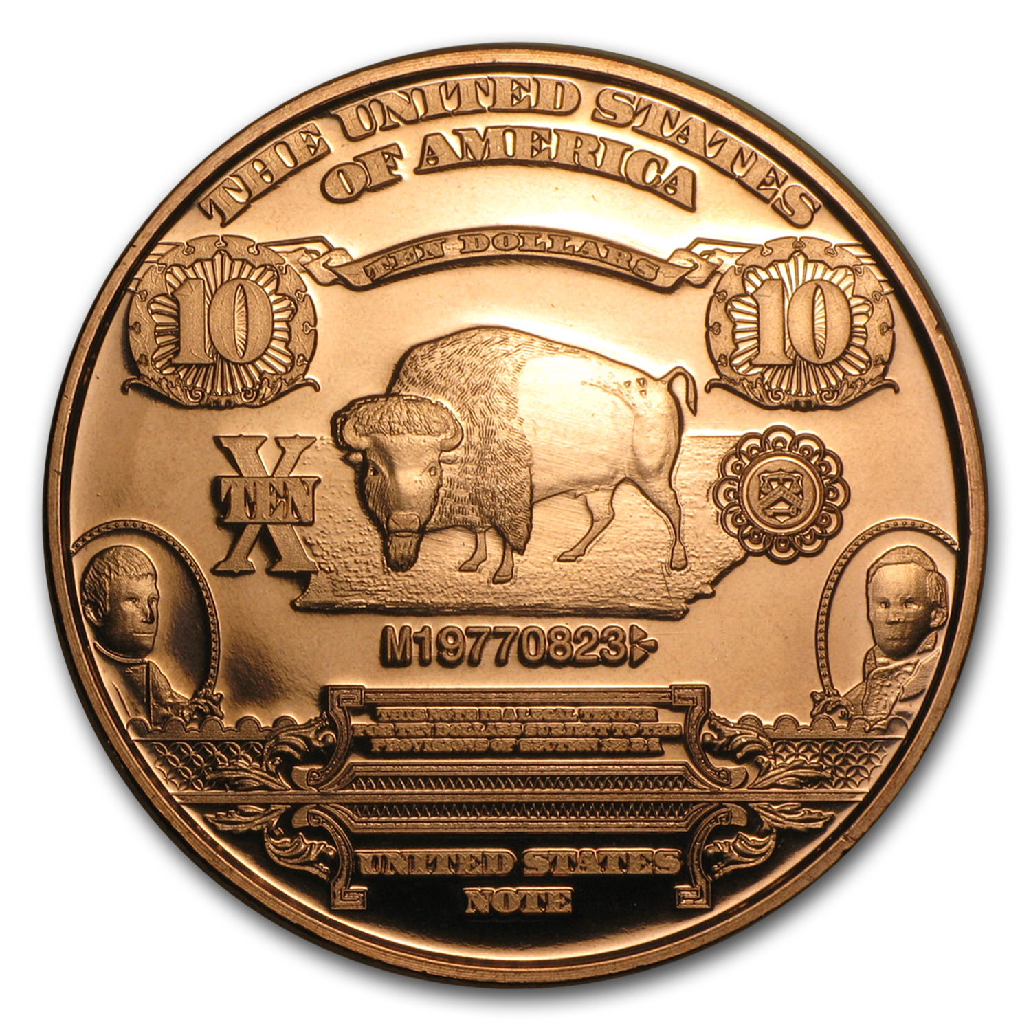 1 oz Copper Round - $10 Bison Banknote