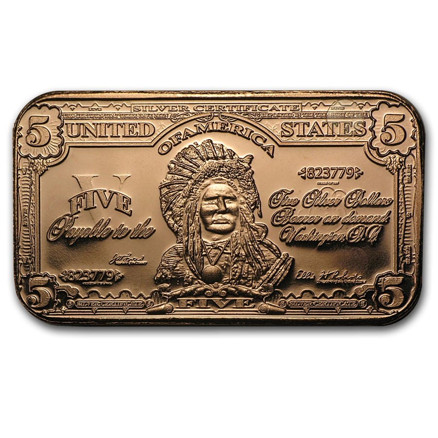 1 oz Copper Bar - $5.00 Indian Chief Banknote