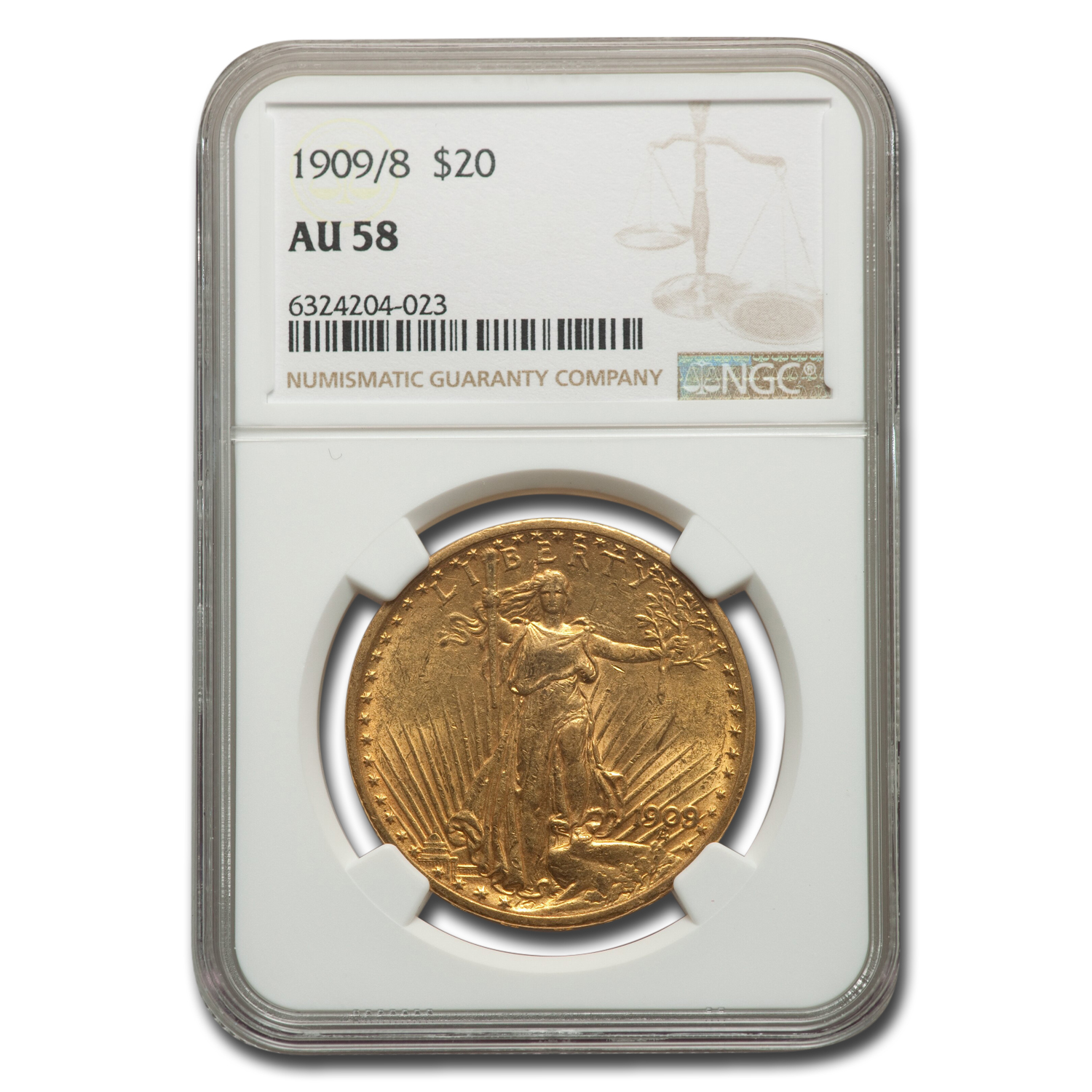 1909/8 $20 St. Gaudens Gold Double Eagle Overdate AU-58 NGC