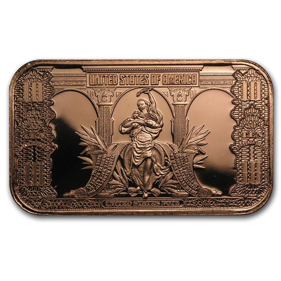 1 Oz Copper Bar 10 00 Bison Banknote Osborne Mint