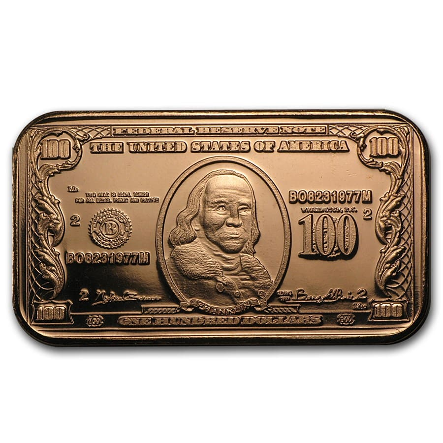 1 oz Copper Bar - $100 Benjamin Franklin Banknote