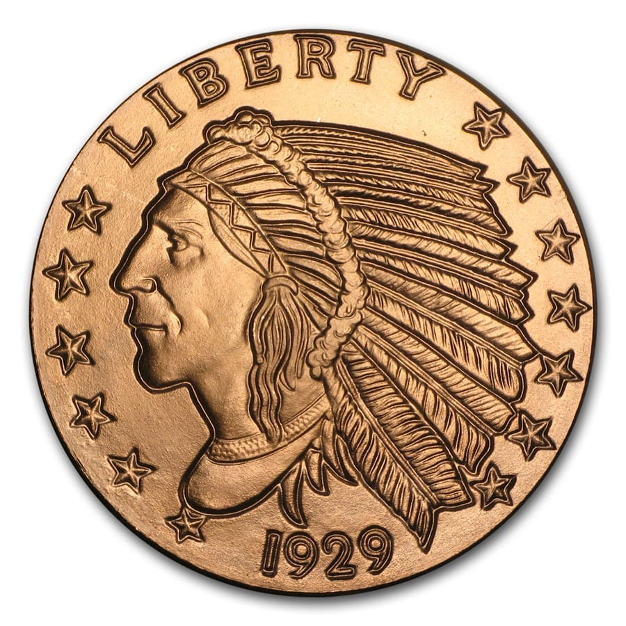 1 oz Copper Round - Incuse Indian