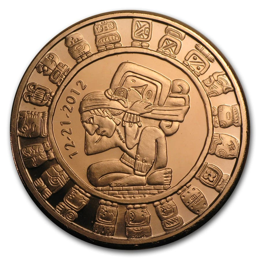 1 Oz Copper Round Mayan Calendar Golden State Mint