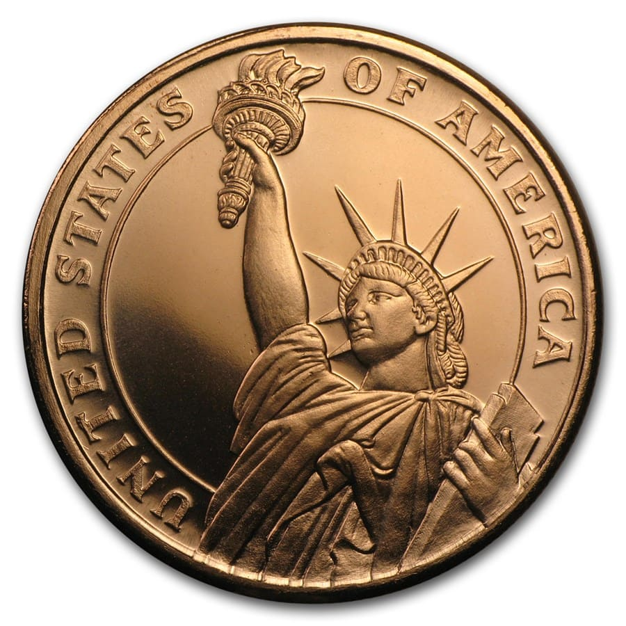 1 Oz Copper Round Statue Of Liberty Golden State Mint