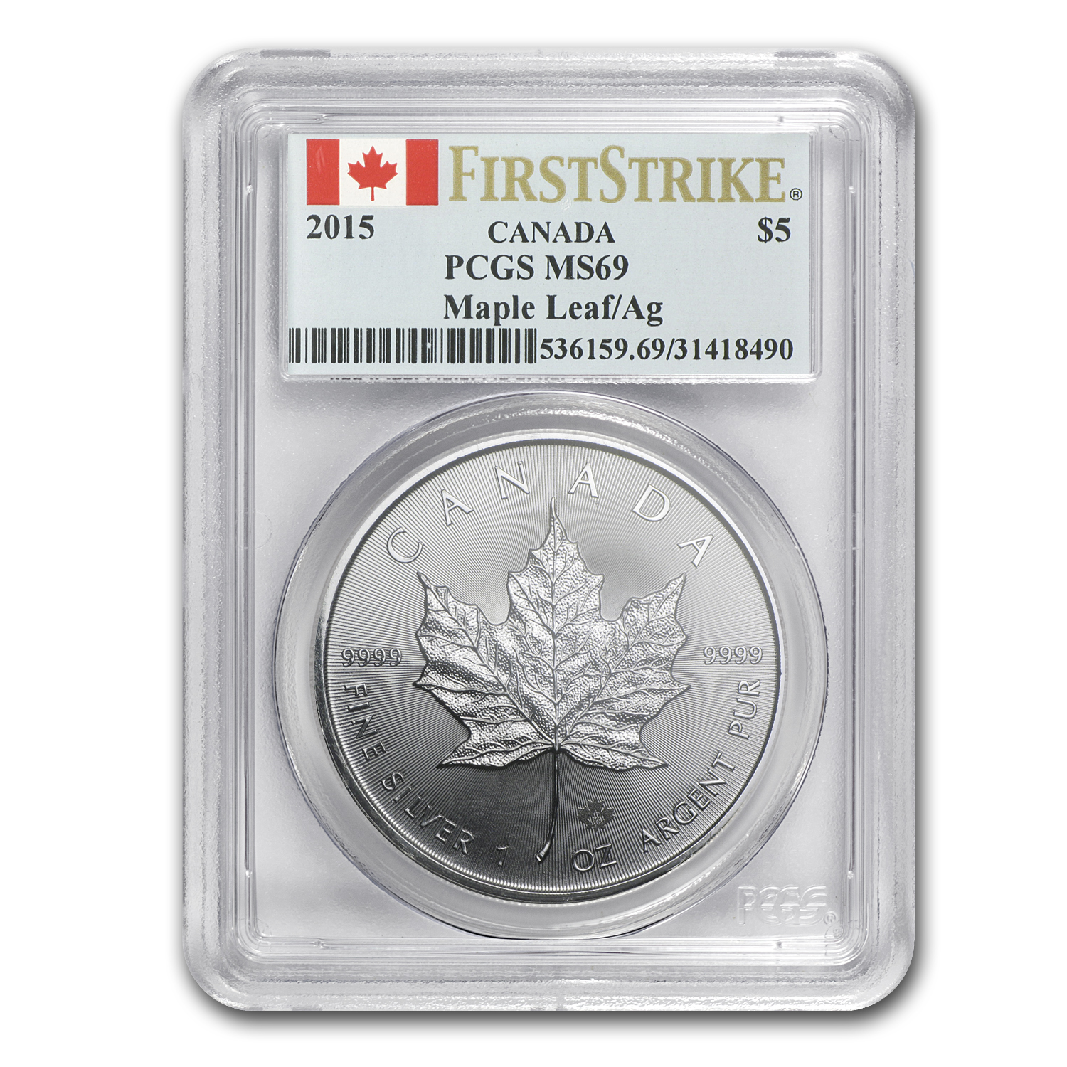 2015 Canada 1 oz Silver Maple Leaf MS-69 PCGS (First Strike)