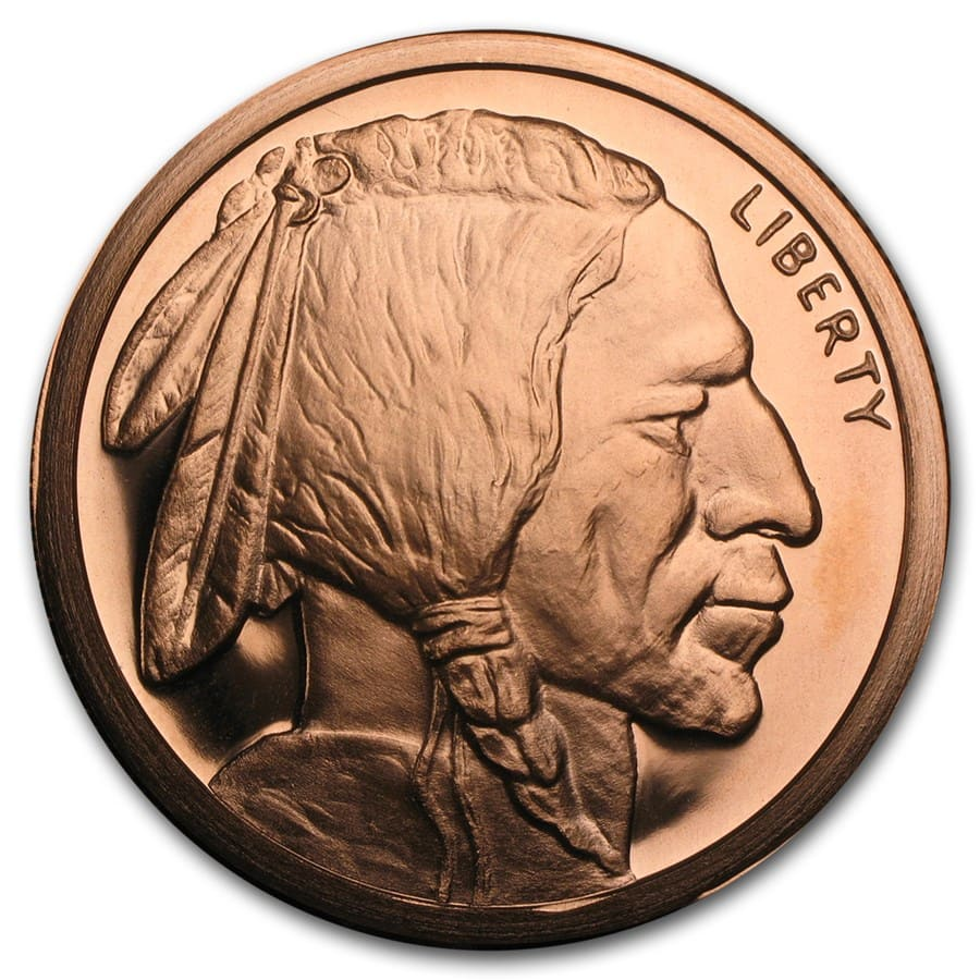 5 oz Copper Round - Buffalo Nickel