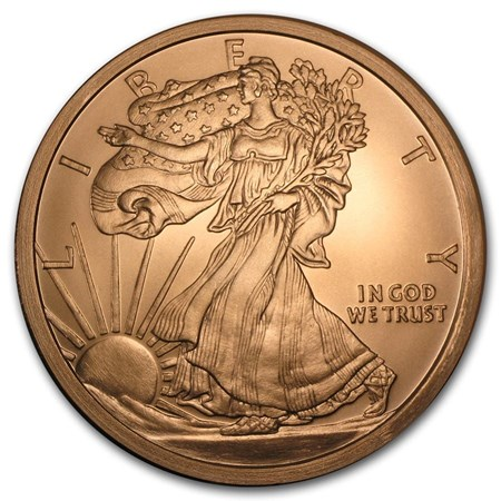 5 Oz Copper Round Walking Liberty Golden State Mint
