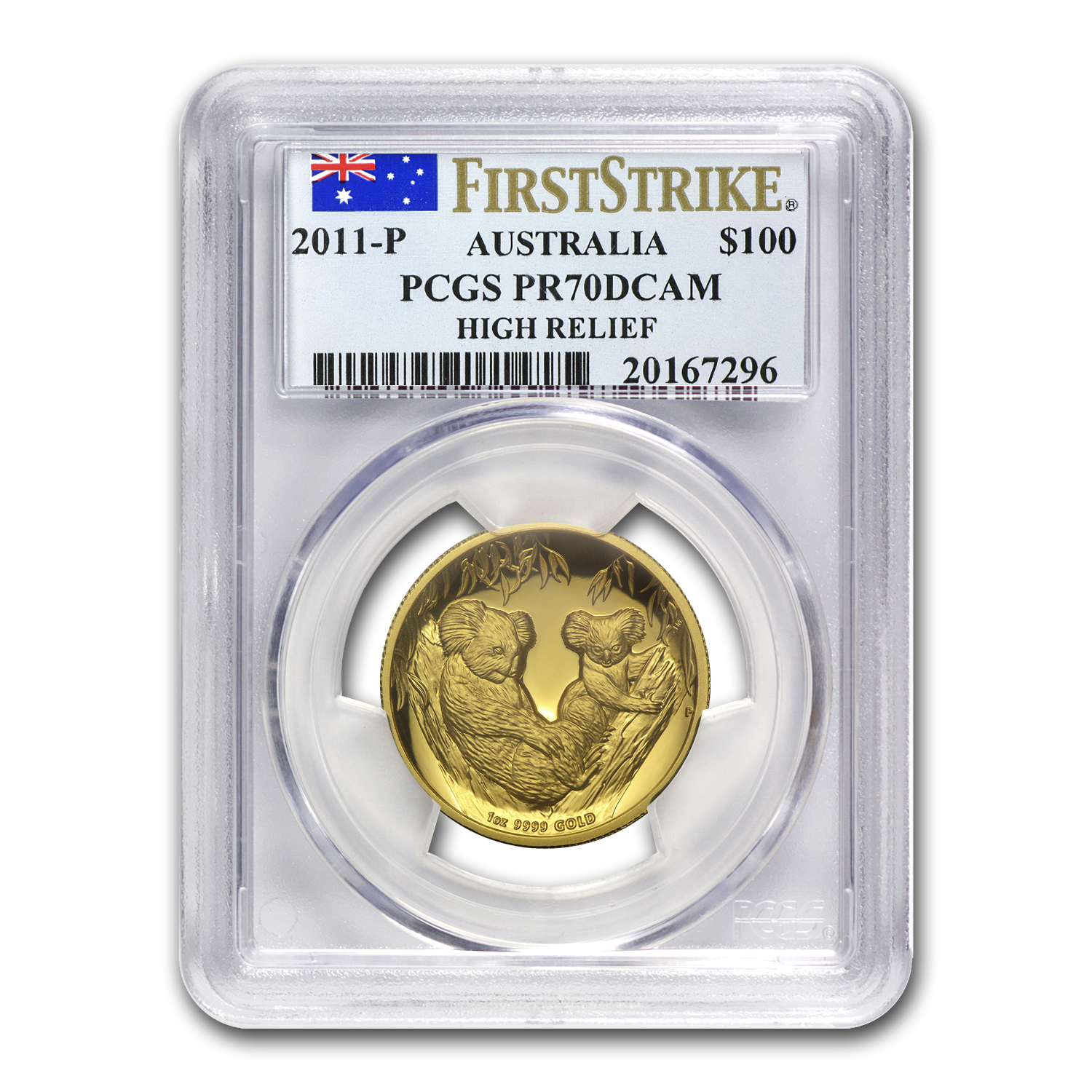 2011-P Australia 1 oz Gold Koala PR-70 PCGS (FS, High Relief)