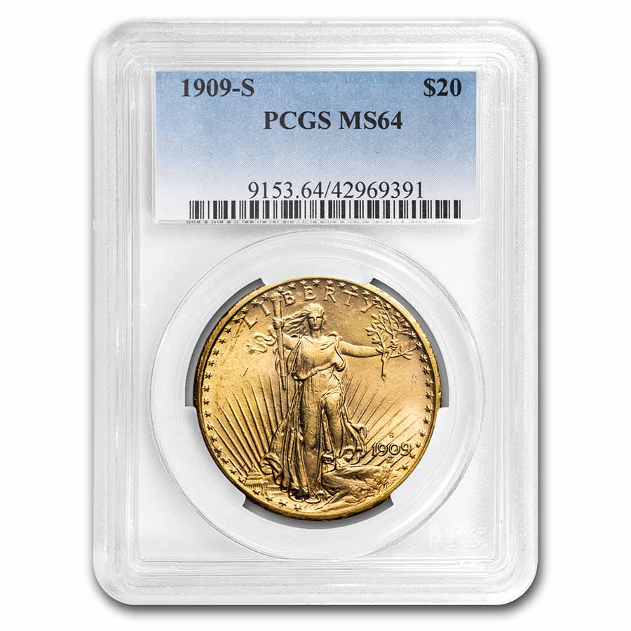 1909-S $20 St. Gaudens Gold Double Eagle MS-64 PCGS