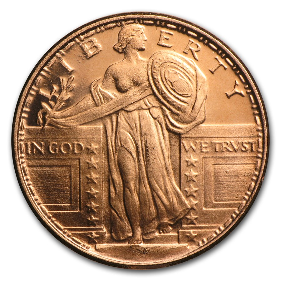 1 4 Oz Copper Round Standing Liberty 20 Count Tube